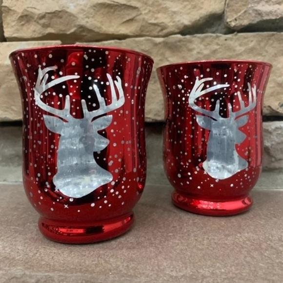 Other - 🎄 Reindeer Red Christmas Votive Holders